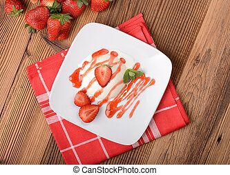 panna cotta - Italian dessert panna cotta with fresh...