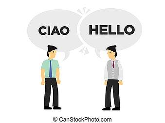 italian., deux, languages., ou, international, communiquer,...
