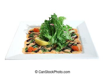 Italian dish: carpaccio of salmon with red caviar