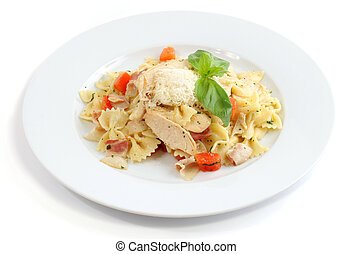 Italian dish: Farfalle with chicken, bacon and cheese on...