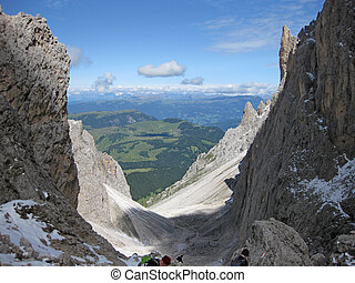 Italian dolomites in south tyrol on a sunny summer day