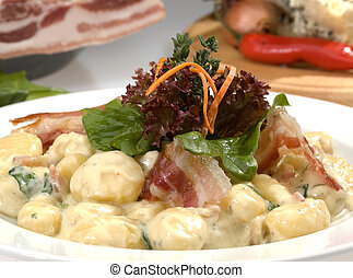 Italian dumplings carbonara w bacon lettuce and cream sauce
