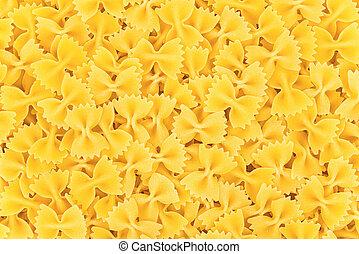 Italian Farfalle Pasta raw food background or texture
