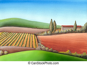 Summer farmland in Tuscany, Italy. Hand painted illustration.