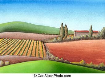 Italian farmland - Summer farmland in Tuscany, Italy. Hand ...