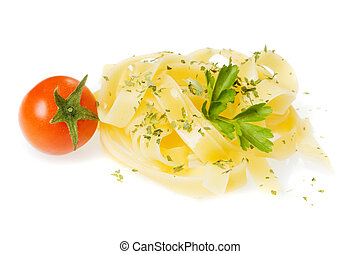 Italian fettuccine pasta with cherry tomato isolated on...