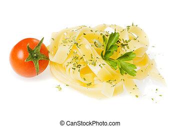 Italian fettuccine pasta with cherry tomato isolated on ...