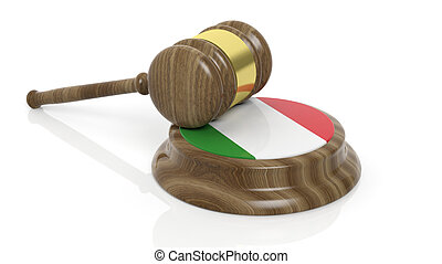 Italian flag and court hammer - Court hammer and Italian...