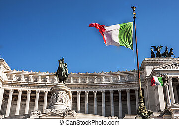 Fatherland Altar - italian flag and detail of the Fatherland...