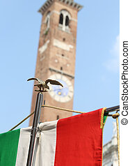 italian flag and the palladian Basilica in Vicenza europe...