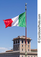 Italian flag blowing in the wind.