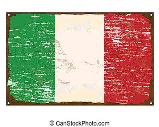 Italian Flag Enamel Sign - Italian flag on rusty old enamel ...