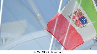 Italian Flag Flying at Yacht Mast.