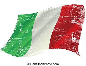 Italian flag with a texture in the win