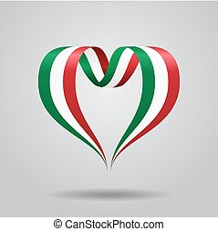 Italian flag heart-shaped ribbon. Vector illustration.