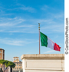 Italian flag in Altar of the Fatherland in Rome, Italy