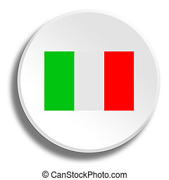 Italian flag in round white button with shadow