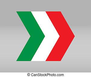 Italian flag in the shape of an arrow - vector