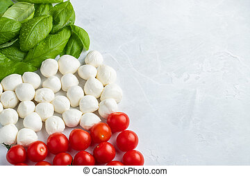 Italian flag made with Tomato Mozzarella and Basil. The concept of Italian cuisine on a light background. Top view with copy space. Flat lay
