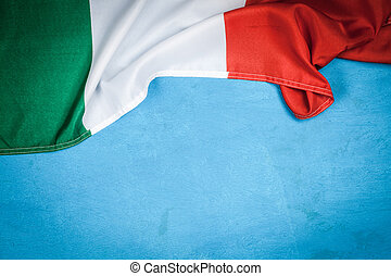Italian flag on blue background