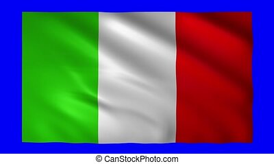 Italian flag on blue screen for chroma key