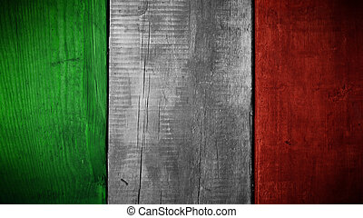 Italian flag on wood