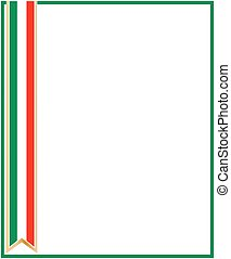 Italian flag ribbon frame template with blank space for text.