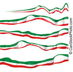 italian flag set isolated