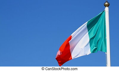 Italian Flag on the blue sky