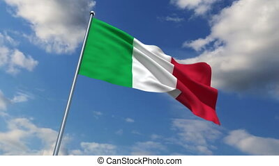 Italian flag waving against time-lapse clouds background