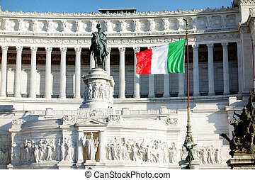 Italian Flag waving Altar of the Fatherland or Altare della Patria in Rome Italy