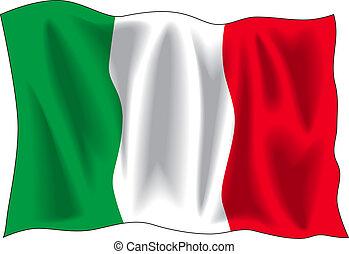 Waving flag of Italian isolated on white