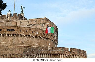 Italian flag waving in Castel Sant'Angelo
