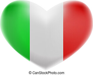 Italian Flag with a Heart shape isolated on white background. A flag of Italy Glossy button