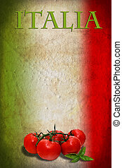Italian flag with tomatoes - Traditional Italian flag with...
