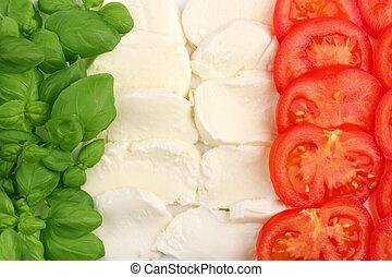 Italian food ingredients forming the italian flag