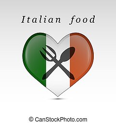 Italian food and flag