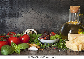 Italian Food Background - Italian food background, with vine...