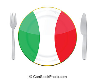 Italian food concept. Knife, plate and fork on a white background