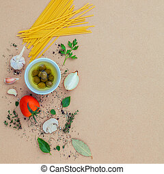 Italian food concept pasta with vegetables olive oil...