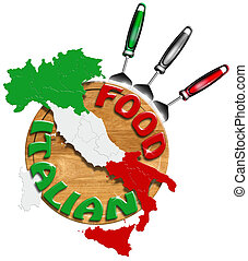 Italian Food - Concept of Italian food with kitchen tools...