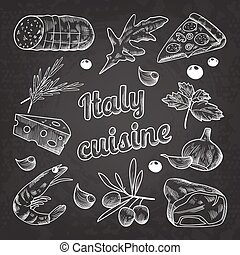 Italian Food Hand Drawn Doodle on Blackboard. Pizza Cheese Olives and Shrimps. Vector illustration