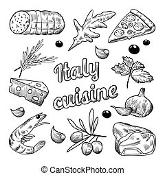 Italian Food Hand Drawn Doodle. Pizza Cheese Olives and Shrimps. Vector illustration