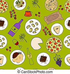 Italian food hand drawn vector