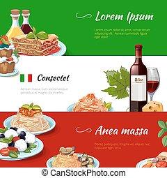 Italian food horizontal banners vector set