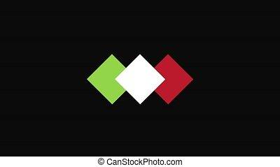 Italian food icon. Italian flag symbol Spoon fork and knife signs. 4K animation footage clip