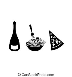 Italian food icons - Black vector italian food icons on...