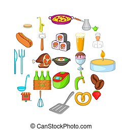 Italian food icons set, cartoon style