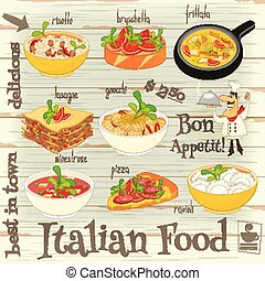 Italian Food Menu Card with Traditional Meal on White Wooden...