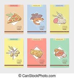 Italian Food Menu Design Template, Poster, Banner, Card. Hand Drawn Traditional Italy Dishes with Pizza, Cheese and Meat. Vector illustration